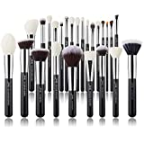 Jessup Brand 25pcs Professional Makeup Brush set Beauty Cosmetic Foundation Power Blushes eyelashes Lipstick Natural-Synthetic Hair Brushes set … (Black+Silver)