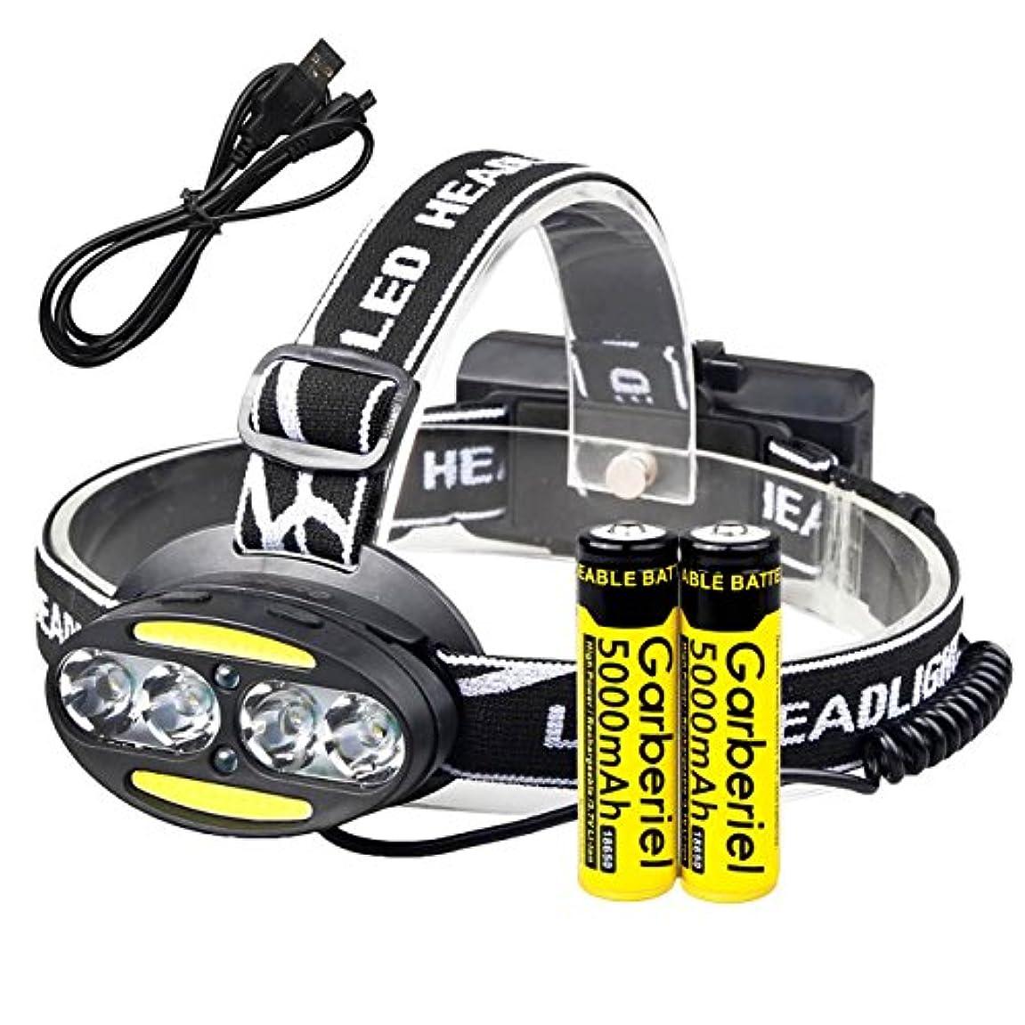 パワー崇拝します過度にLED 超高輝度 ヘッドライト COBヘッドランプ 7つ点灯モード USB 电缆 と 2 * 18500電池を持って防水 登山 アウトドア 夜釣り 防災用 ズーム?SOSフラッシュ機能