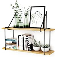 Super Kh® 壁掛け二段鉄鍛造製本棚/木製棚/ウォールシェルフ * (サイズ さいず : 80cm)
