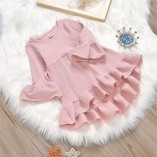 GRNSHTS Baby Girls Bell Long Sleeve Dress Toddler Kids Ruffle Knitted Princess Skirt Playwear Clothing Set (Pink, 12-18 Months)