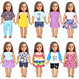 Fashion 10-Sets Doll Clothes Dress for 18 inch Dolls Includes American Girl, Journey Girl, Our Generation