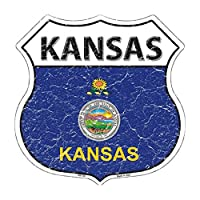 Smart Blonde HS-124 Kansas State Flag Highway Shield Metal Sign