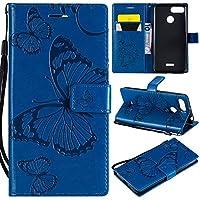 携帯電話ケース, フラワーフローラルバタフライパターンPUレザーウォレットスタンドケースXiaomi Redmi 6 / Redmi 6Aの手首ストラップ (色 : 青)