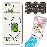 301-sanmaruichi- iPhoneSE ケース iPhone5s 5 ケース ミラーケース 鏡付き ミラー付き カード収納 おしゃれ カエル 蛙 アニマル 動物 ペア