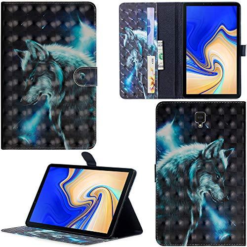 DodoBuy Samsung Galaxy Tab S4 10.5 ケース 3D 手帳型カバー 革 マグネット式ド収納 スタンド機能 財布型 カード収納 おしゃれ フリップ磁気閉鎖 ために Samsung Galaxy Tab S4 10.5 - 狼