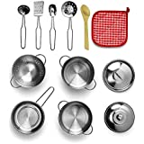 Play Kitchen Pots and Pans Set,Teepao Kids Kitchen Set with Stainless Steel, Cookware Playset Kitchen Pretend Toys for Kids