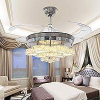 TiptonLight ホームシーリングファンシャンデリア リモコン付き シンプルなスタイル 36W LEDライト4個 アクリル製インビジブルブレード 照明装飾用 42 Inch