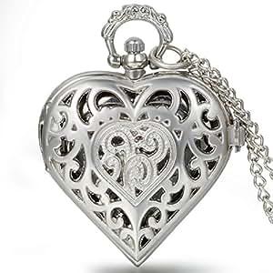 JewelryWe 懐中時計 アンティーク風 手巻き式 ネックレス 時計,ペンダント ウォッチ ポケットウォッチ,透かし彫り ハート型 球状 ケース,合金,バレンタイン プレゼント