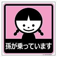 【孫が乗っています】女の子C マグネット10cm×10cm 1枚入 (ピンク)