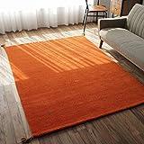 肌触り 柔らかい ギャベ ラグ SW 01 オレンジ 約 200×250 cm 約 3畳 大 ピュア ニュー ウール 新毛使用 ウールマーク 付き 輸入 カーペット