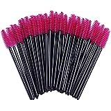 Haobase 100 Pack Disposable Eyelash Mascara Brushes Wands Applicator Makeup Brush Kits Pink