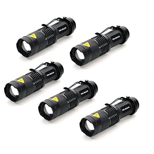Orader LED 懐中電灯 ハンディライト 超小型・軽量 高輝度 強力 防水 防災 Q5 LED コンパクト ズーム機能 5個セット (ブラック)