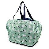 レジカゴに入るお買い物バッグ 内側保冷シート貼り 巾着タイプ p239 (シロクマxミント)