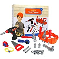 Click n' Play 23 piece Kids Pretend Play Real Working Toy Tool Set Includes Powered Drill, Hammer, Saw, Tape Measure, Tool Belt and other Construction Accessories [並行輸入品]