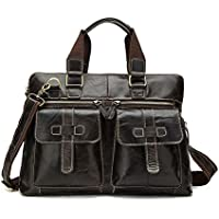 GoQuik Men's Leather Retro Shoulder Crossbody Men's Fashion Business Briefcase Tote, Dark Brown, 40x37x10cm