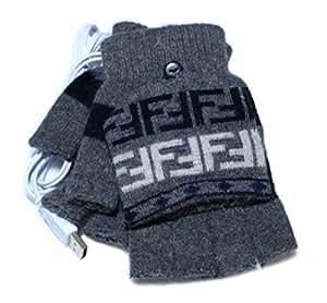 USB  ヒーター あったか 手袋 ポッカぽか 男性用 ストラップ 飾り 付 (グレー)