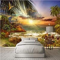 Wuyyii カスタム壁画壁紙3Dアイランドビーチ海景壁画リビングルーム寝室防水キャンバス家の装飾-400X280Cm
