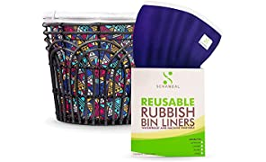 Rubbish Bin Liners – REUSABLE! Pack of 2. Zero Waste Alternative to Compostable Bin Liners or Biodegradable Bin Liners. Great for Kitchen, Bathroom, Office Waste Bins. Waterproof and Machine Washable.