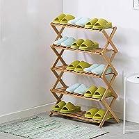 無料のインストールシューズラック、マルチレイヤーシンプルな木製の靴のキャビネット、防塵強化された近代的なミニマルなラック、折り畳み式