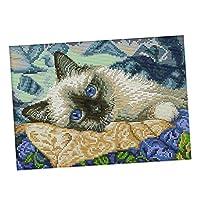 Baoblaze クロスステッチキット 印刷パターン DIY 手作り 刺繍キット 青い目の猫 全2種 - 11CT, 39×27cm