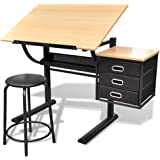 vidaXL Three Drawer Drawing Table Tiltable Tabletop Computer Writing Desk