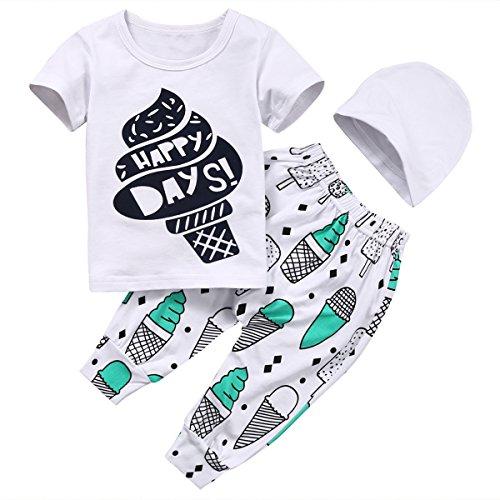 CANIS 幼児服 ルームウェア 半袖 Tシャツ&ズボン 上下セット 帽子付き 男女兼用 アイスクリーム プリント レター ホワイト 夏 MOWMEE 海外配送