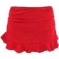 SHEKINI Women's Swimdress Swimsuit Built-in Swim Bottoms Shirred Ruffle Skirt Bikini Bottoms