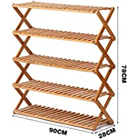 YNN 5層靴ラックシンプルな多層靴多機能防塵木の折り畳み式家庭用靴ラック竹ラック (サイズ さいず : 90センチメートル)