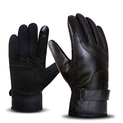 iWheat 手袋 バイク用 自転車 グロープ レザー手袋 防水 防寒 防風 防雨 裏起毛 保温 滑り止め付き メンズ タッチパネル対応 通勤 通学 フリーサイズ