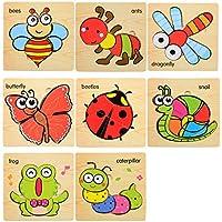 Siyushop パズル 木製パズル 子供用 おもちゃボックス 7点セット 難しい教育教育教育ツール 男の子と女の子 誕生日プレゼントに最適 (色: D )