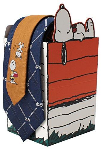 [DRESSCODE101(ドレスコード101)]キャラクターネクタイ スヌーピー ネクタイ セット (可愛い ギフトボックス) 別注 オリジナル 8cm クリスマス プレゼント ブランド JUN-SNOOPY- メンズ ブルー×足跡 日本 FREE (FREE サイズ)