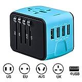 旅行充電器 変換プラグ 急速充電用 コンセント 海外 マルチ電源プラグ 携帯電話用 旅行プラグ(ブルー)