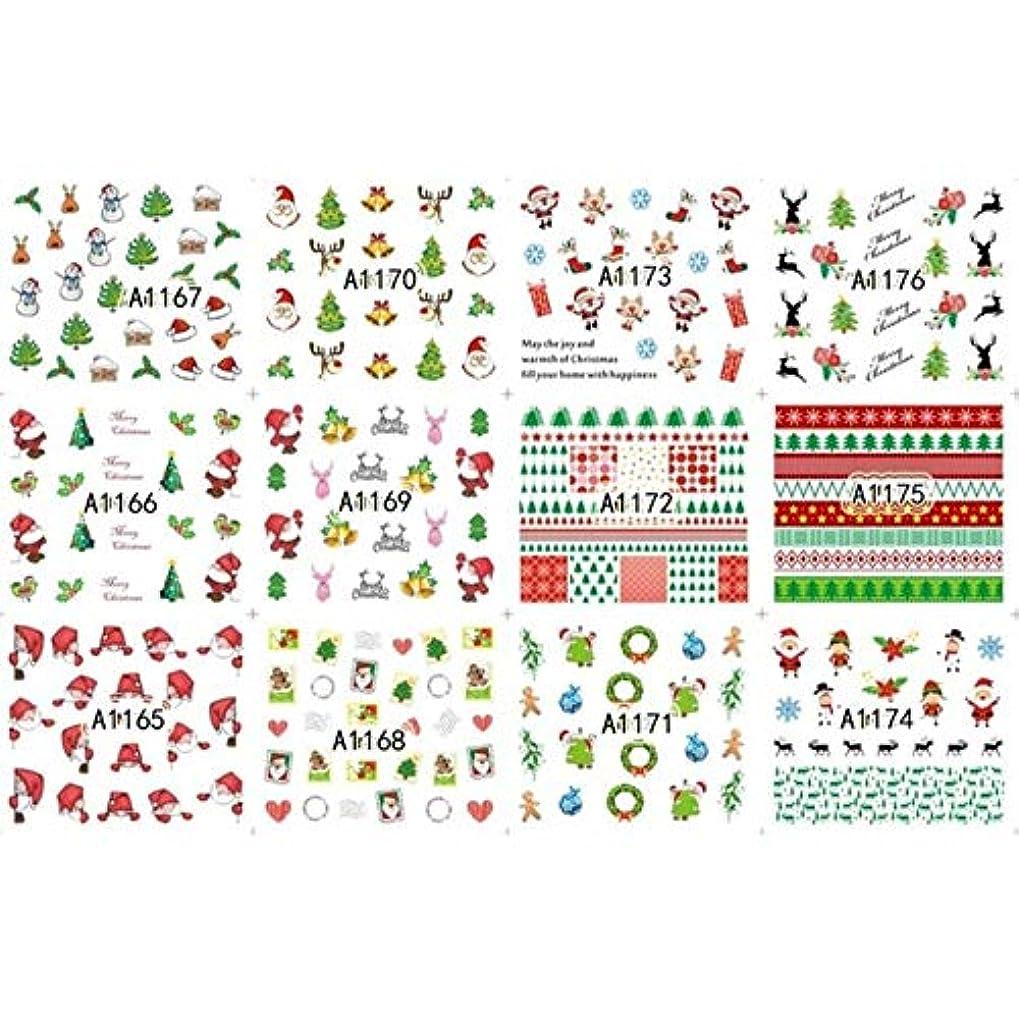 階下ロードハウス職業12枚美容ハロウィンクリスマス水転写ネイルアートステッカーデカールネイルデコレーションマニキュアツールパンプキンスカルデザイン,8