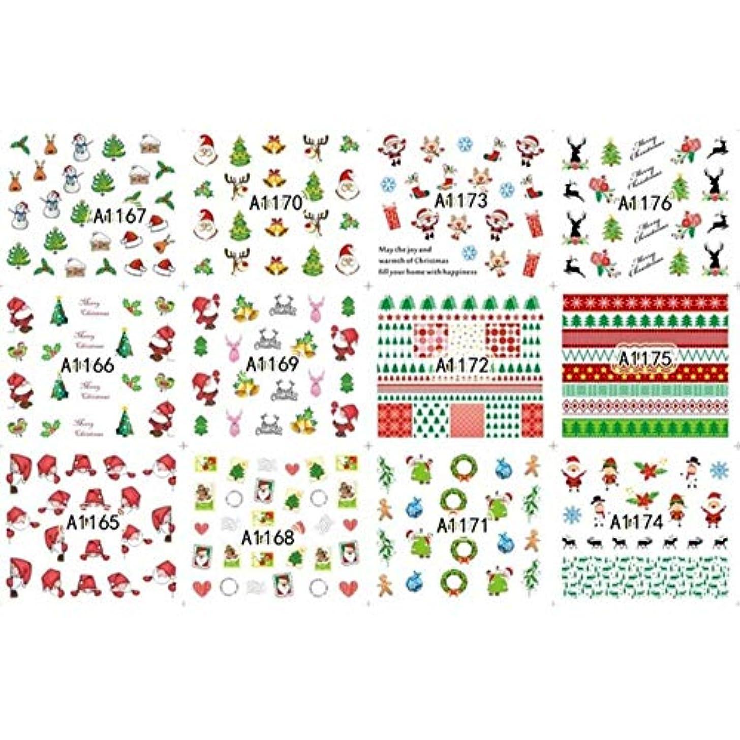 コンチネンタルスクラップ余剰12枚美容ハロウィンクリスマス水転写ネイルアートステッカーデカールネイルデコレーションマニキュアツールパンプキンスカルデザイン,8