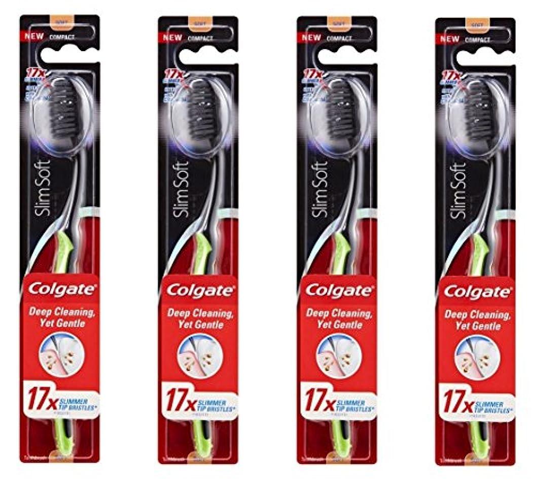 意気込み学者列挙するColgate Slim Soft Charcoal 木炭毛 スリム、ソフト 4個 [並行輸入品]