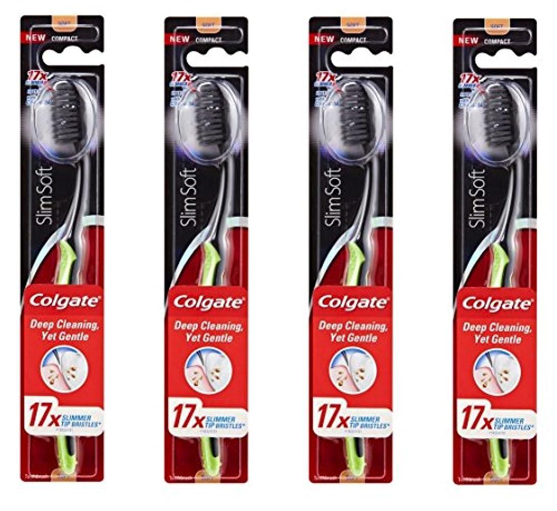 取り組むレーダーくさびColgate Slim Soft Charcoal 木炭毛 スリム、ソフト 4個 [並行輸入品]