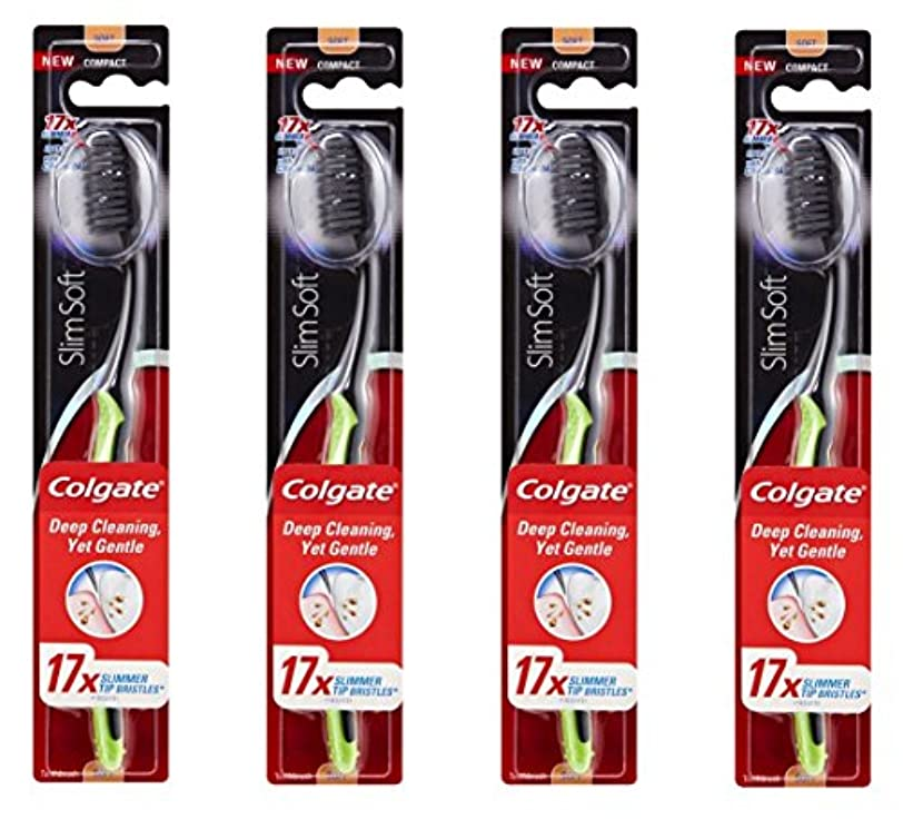 ペネロペ美徳販売計画Colgate Slim Soft Charcoal 木炭毛 スリム、ソフト 4個 [並行輸入品]