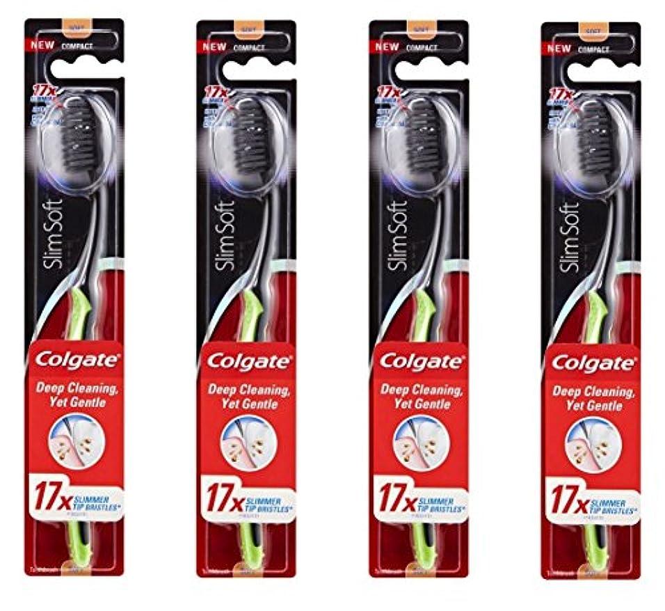 小康スピーチペチュランスColgate Slim Soft Charcoal 木炭毛 スリム、ソフト 4個 [並行輸入品]