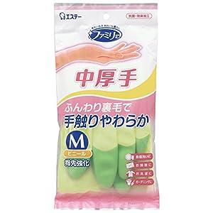 ファミリー ビニール 手袋 中厚手 指先強化 炊事・掃除用 Mサイズ グリーン