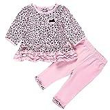 FTzone ベビーの女の赤ちゃんの柔らかい綿の長袖2個服セット(ヒョウ柄) (12-18 ヶ月)