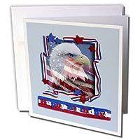 バースデーデザイン–Happy誕生日Patriotic Eagle–グリーティングカード Set of 12 Greeting Cards