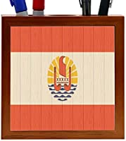 Rikki Knight French Polynesia Flag on Distressed Wood Design 5-Inch Wooden Tile Pen Holder (RK-PH8711) [並行輸入品]