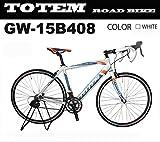 totem ロードバイク スポーツバイク 自転車 超軽量アルミフレーム 700C ダブルクイックハブ シマノ SHIMANO 全国送料無料 最安値 TOTEM トーテム 通勤通学 26インチ STIレバー デュアルコントロールレバー 15B408 (700x500 ホワイト)