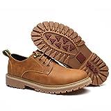 [ファイン・ショップ]ワークブーツ ローカット メンズ おしゃれ 男性用靴 滑り止め 耐磨耗 通学 旅行用 レースアップ フラット ハイキング トレッキングシューズ アウトドア 厚底靴 イエロー 24.0cm