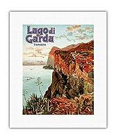 ガルダ湖 - トレモージネ、イタリア - ビンテージな鉄道旅行のポスター によって作成された エットーレ・エリオ・シメネス c.1920s - キャンバスアート - 28cm x 36cm キャンバスアート(ロール)