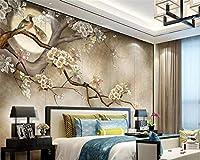 Gyqsouga カスタム壁紙現代家の装飾壁画手-塗装花と鳥の木リビングルームテレビ壁3d壁紙-260X180CM