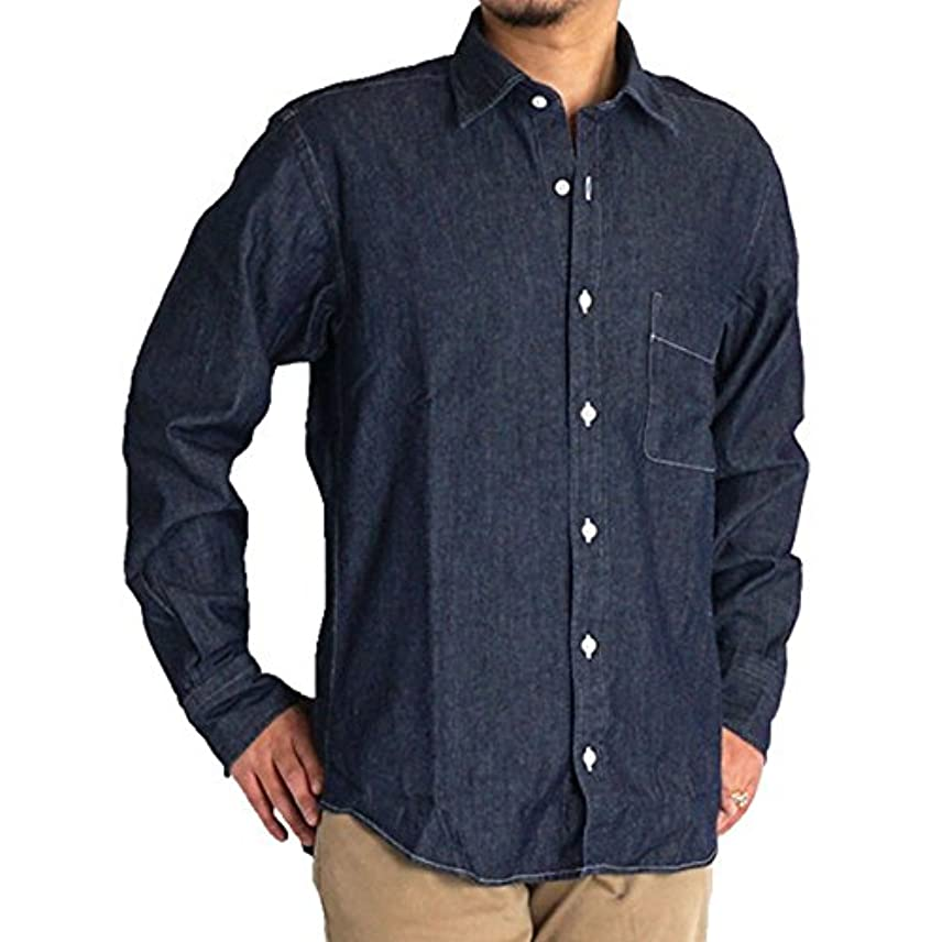 スケッチ観察あなたが良くなりますシャツ メンズ 大きいサイズ 長袖 シャンブレー 綿100% ダンガリー デニムシャツ ゆったり 2L 3L 4L 5L