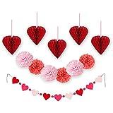 SUNBEAUTY お得12点セット ハート形のハニカム ポンポンフラー ペーパーガーランド 組み合わせ 写真背景 バレンタイン 結婚式の飾り付け