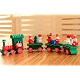 COMVIP おもちゃ クリスマス 装飾品 子供 ウッド 列車 トレイン プレゼント 幼稚園 パーティー 誕生日 汽車 オーナメント グリーン