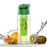 AVOIN colorlife デトックス ウォーターボトル ドリンクボトル フルーツ スポーツボトル 水筒 Tritan BPAフリー フィルター付き 直飲み 700ml
